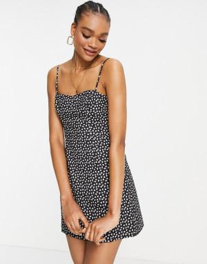Черное платье мини с мелким цветочным принтом French Connection-Черный цвет