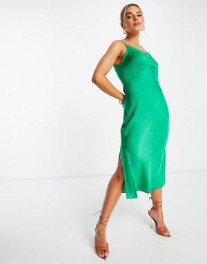 Зеленое платье-комбинация миди с драпировкой и кружевной отделкой French Connection Dola-Зеленый цвет