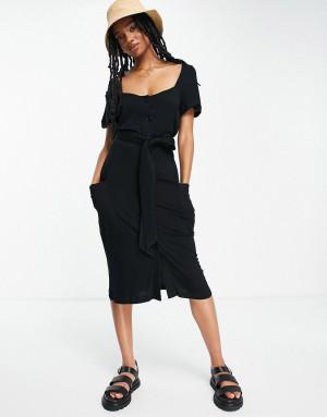 Черное трикотажное платье с квадратным вырезом на пуговицах French Connection-Черный цвет