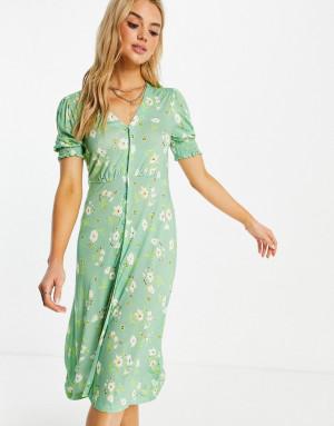 Зеленое чайное платье миди с цветочным принтом French Connection-Зеленый цвет
