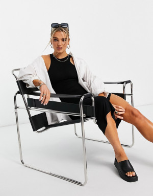 Черное трикотажное платье миди со спинкой-борцовкой French Connection-Черный цвет