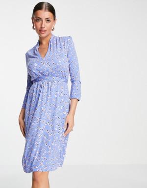 Голубое трикотажное платье с завязками на поясе и принтом French Connection-Голубой
